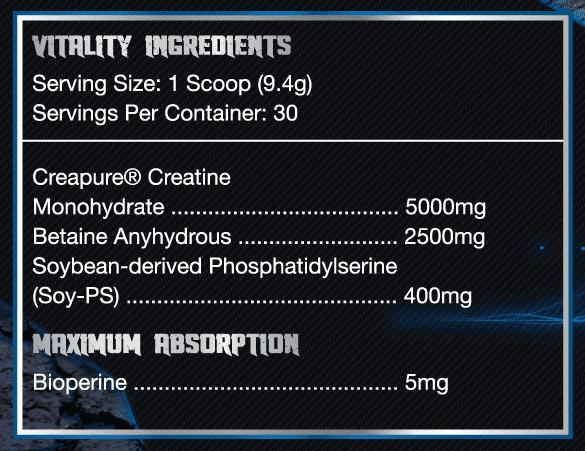 vital1ty ingredients