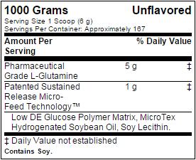 Glutamine sr ingredients