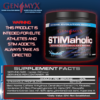 Stimaholic Supplement Facts