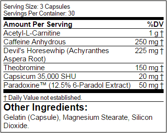 Backdraft XP Supplement Facts