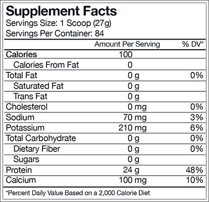 Combat 100% Isolate Supplement Facts