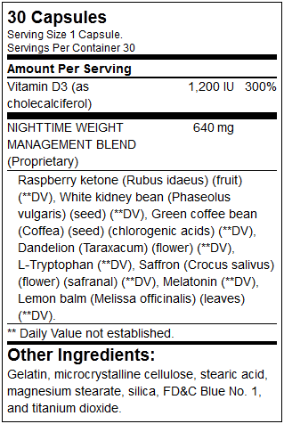 Nite Burn Supplement Facts
