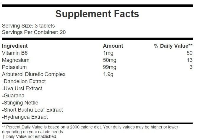 Arbuterol H2-NO Supplement Facts