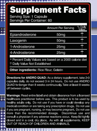 Andro Quad Supplement Facts