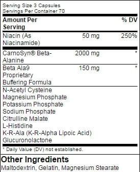 Beta Ala9 Supplement Facts