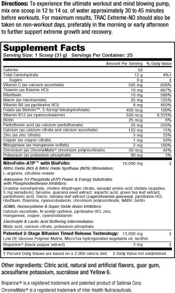 Trac Extreme NO Supplement Facts