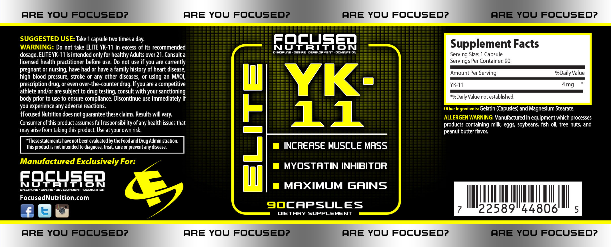 YK Elite Supplement Facts