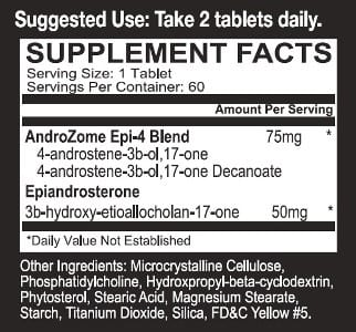 Androzome Epi-4 Supplement Facts
