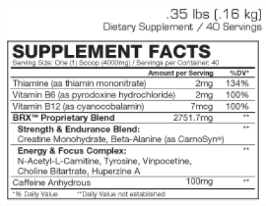 Body Rush X Supplement Facts