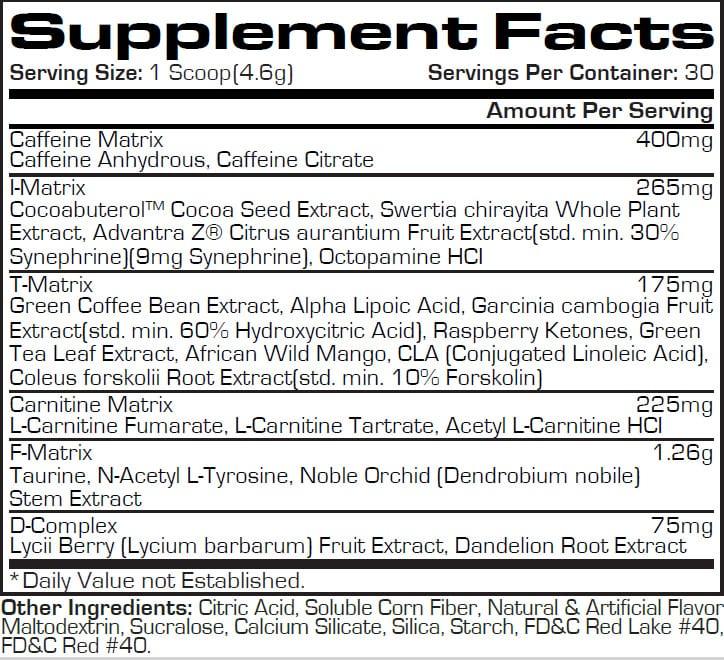DNPX Powder Supplement Facts
