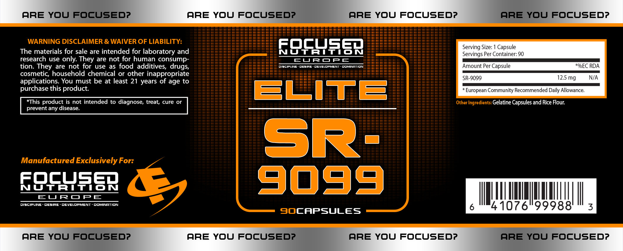 SR Elite Supplement Facts