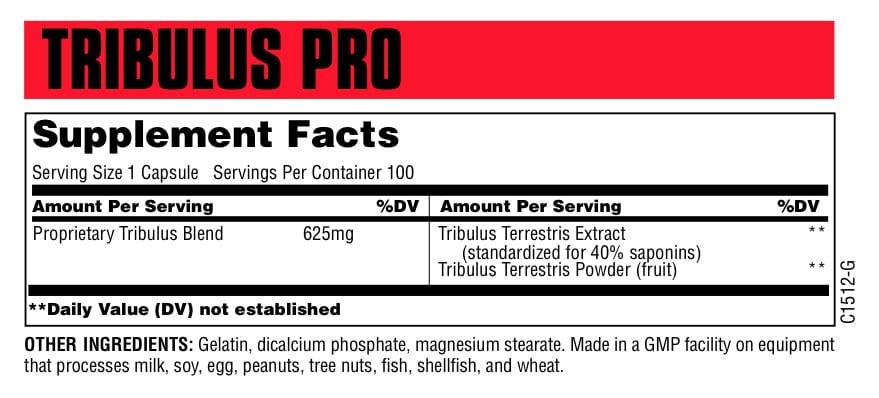 Tribulus Pro Supplement Facts