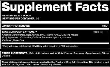 Maximum Pump Extreme Supplement Facts