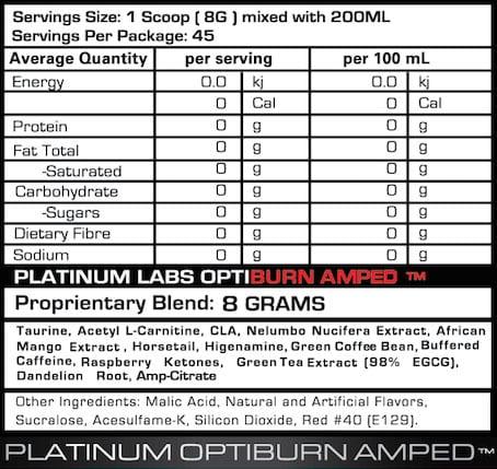 Optiburn Amped Supplement Facts