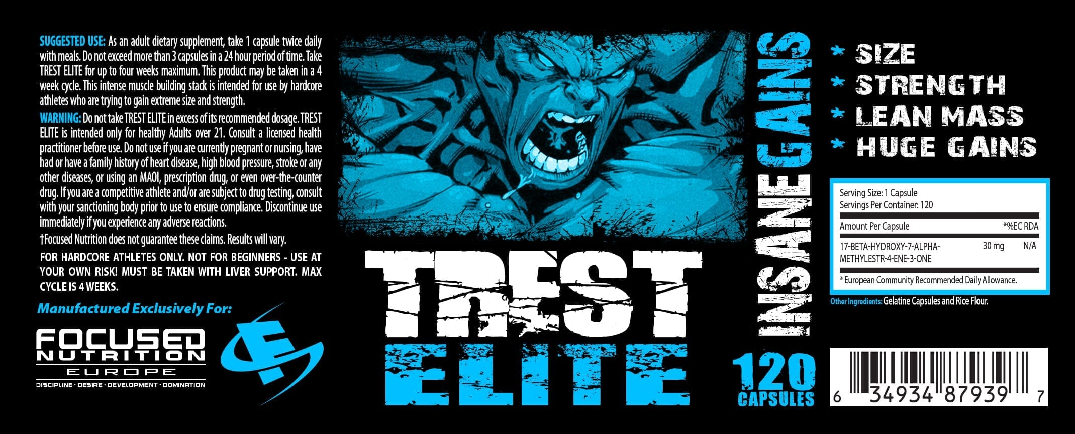 Trest Elite Supplement Facts