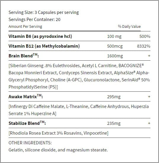 Masterbrain PM Supplement Facts