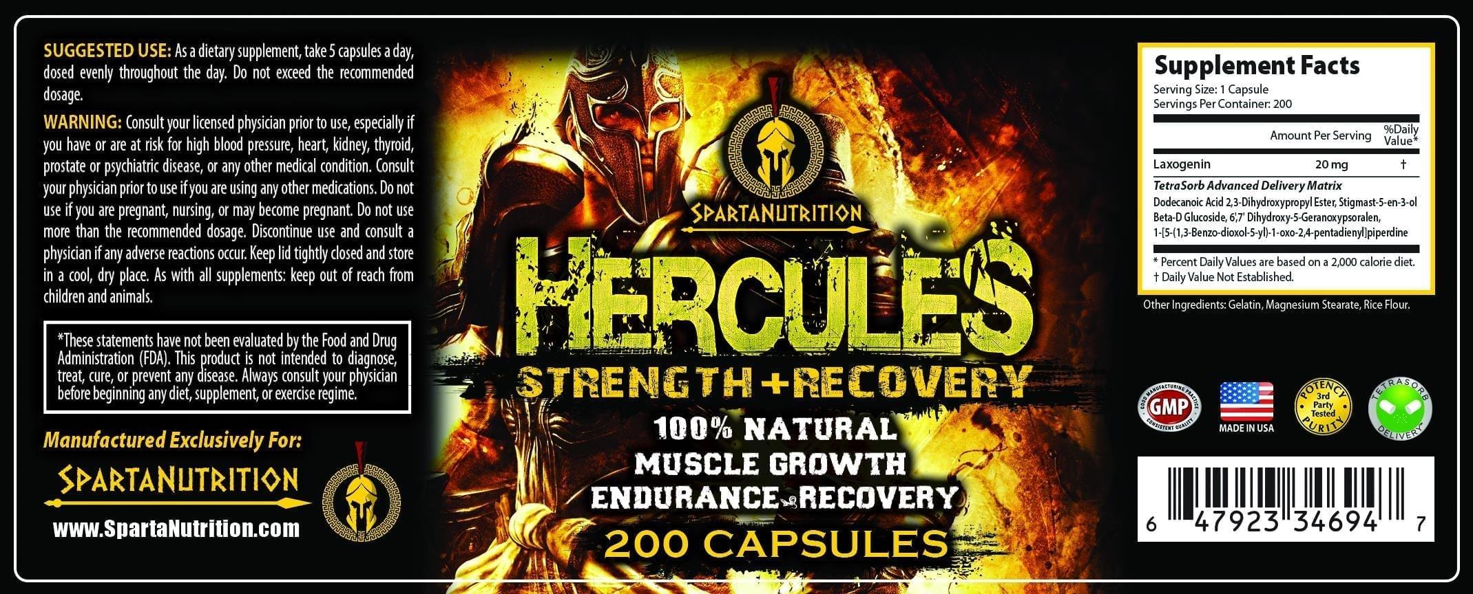 Hercules Supplement Facts