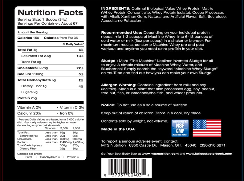 MTS Whey Protein Supplement Facts